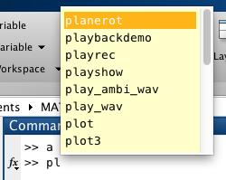 Command Window: Automatische Vervollständigung